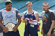 SYDNEY, AUSTRALIA, FEBRUARY 24, 2011: Sydney Roosters players Mose Masoe (left) Rhys Pritchard (center) and UFC fighter Jon Fitch are pictured during a media event at Sydney Football Stadium in Sydney, Australia on February 24, 2011