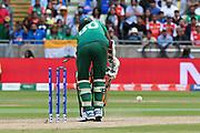 India win - Wicket - Mustafizur Rahman of Bangladesh is bowled by Jasprit Bumrah of India during the ICC Cricket World Cup 2019 match between Bangladesh and India at Edgbaston, Birmingham, United Kingdom on 2 July 2019.