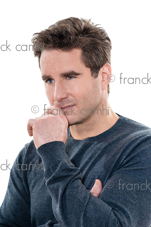 one  man mature handsome thinking pensive portrait studio white background