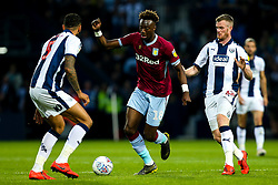 Tammy Abraham of Aston Villa takes on Kyle Bartley of West Bromwich Albion and Chris Brunt of West Bromwich Albion - Mandatory by-line: Robbie Stephenson/JMP - 14/05/2019 - FOOTBALL - The Hawthorns - West Bromwich, England - West Bromwich Albion v Aston Villa - Sky Bet Championship Play-off Semi-Final 2nd Leg