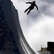 Devin Logan, USA, in practice before competition in the Women's Halfpipe Finals during The North Face Freeski Open at Snow Park, Wanaka, New Zealand, 3rd September 2011. Photo Tim Clayton....