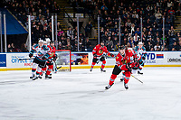 KELOWNA, CANADA - MARCH 2:  Joachim Blichfeld #20 of the Portland Winterhawks skates during the second period against the Kelowna Rockets on March 2, 2019 at Prospera Place in Kelowna, British Columbia, Canada.  (Photo by Marissa Baecker/Shoot the Breeze)