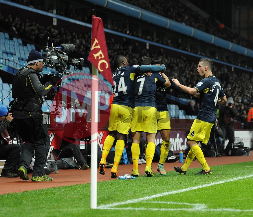 Southampton's Nathaniel Clyne celebrates his goal with team mates - Photo mandatory by-line: Dougie Allward/JMP - Mobile: 07966 386802 - 24/11/2014 - SPORT - Football - Birmingham - Villa Park - Aston Villa v Southampton - Barclays Premier League