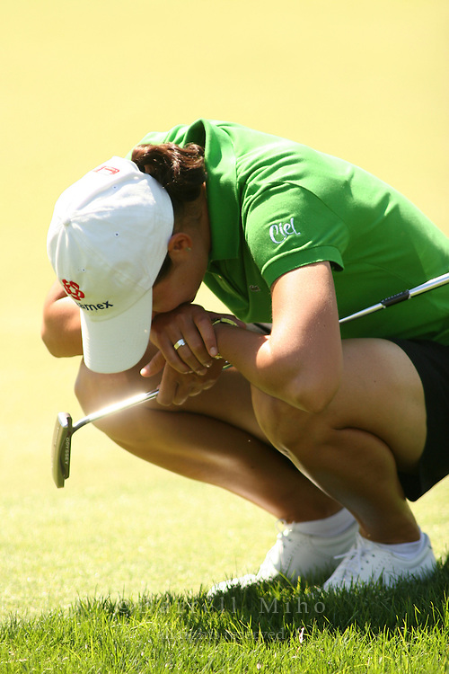 Apr. 2, 2006; Rancho Mirage, CA, USA; Lorena Ochoa reacts after missing a birdie putt on the 6th hole in the final round of the Kraft Nabisco Championship at Mission Hills Country Club. ..Mandatory Photo Credit: Darrell Miho.Copyright © 2006 Darrell Miho .