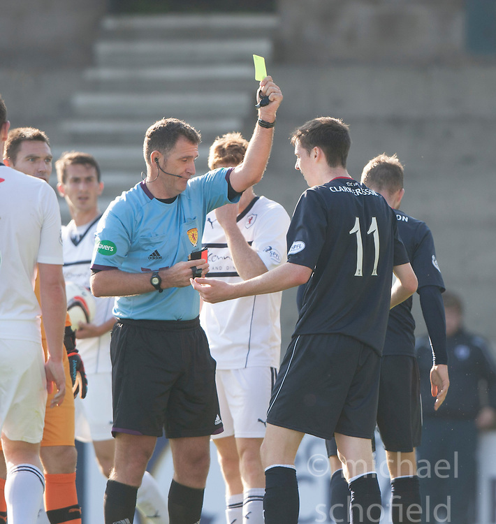 Falkirk's Conor McGrandles booked for diving by ref McKendrick.<br /> Half time : Raith Rovers 1 v 0 Falkirk, Scottish Championship 28/9/2013.<br /> &copy;Michael Schofield.