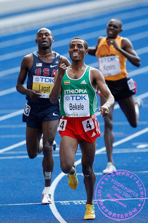 BERLIN 23/08/2009.12th IAAF World Championships in Athletics Berlin 2009.Ethiopia's Kenenisa Bekele celebrates winning the men's 5000m race of the 2009 IAAF Athletics World Championships .Phot: Piotr Hawalej / WROFOTO
