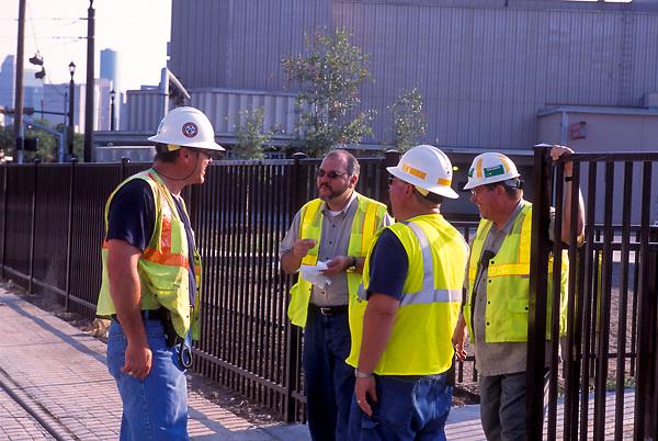 Houston Metro workers taking a break