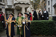 WARDE BEADLES IN FRONT OF NICHOLAS HILLIARD, JOHN BARRADELL RECORDER, TOWN CLERK, DR. PETER KANE, CHAMBERLAIN, COMPTROLLER, Lord Mayor's show London. 11 November 2017.