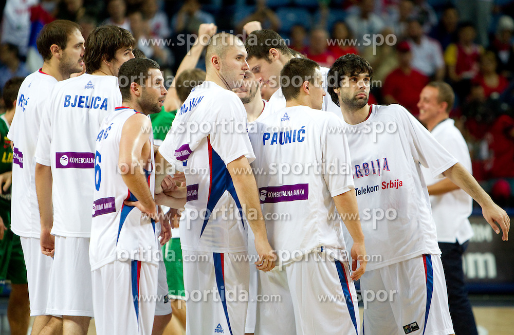 Players of Serbia after the third-place basketball match between National teams of Serbia and Lithuania at 2010 FIBA World Championships on September 12, 2010 at the Sinan Erdem Dome in Istanbul, Turkey. Lithuania defeated Serbia 99 - 88 and win placed third.  (Photo By Vid Ponikvar / Sportida.com)