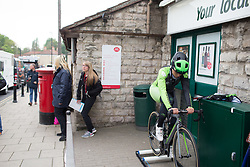 Rachele Barbieri (ITA) of Cylance Pro Cycling warms up for the Tour de Yorkshire - a 122.5 km road race, between Tadcaster and Harrogate on April 29, 2017, in Yorkshire, United Kingdom.