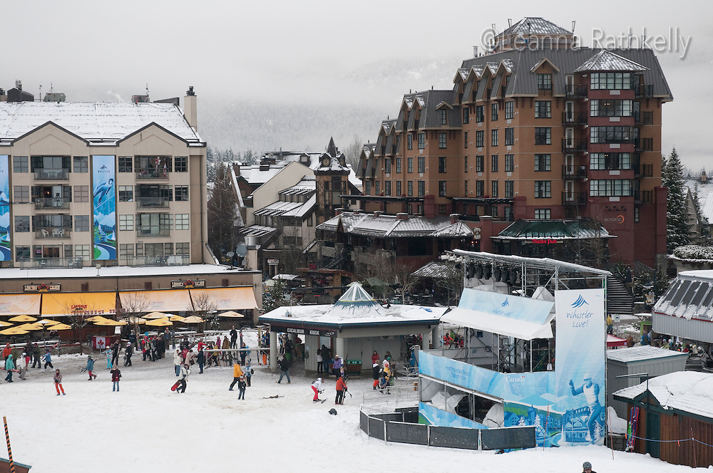 Whistler village gets fresh snow during the 2010 Olympic Winter Games in Whistler, BC Canada.
