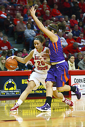 01 January 2012:  Katie Broadway works the perimeter against Staci Gillum during an NCAA women's basketball game between the Evansville Purple Aces and the Illinois Sate Redbirds at Redbird Arena in Normal IL