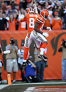 Cleveland Browns tight end Gary Barnidge (82) jumps and celebrates with Cleveland Browns wide receiver Taylor Gabriel (18) after Barnidge catches a touchdown pass that ties the score at 7-7 during the 2015 week 8 regular season NFL football game against the Arizona Cardinals on Sunday, Nov. 1, 2015 in Cleveland. The Cardinals won the game 34-20. (©Paul Anthony Spinelli)