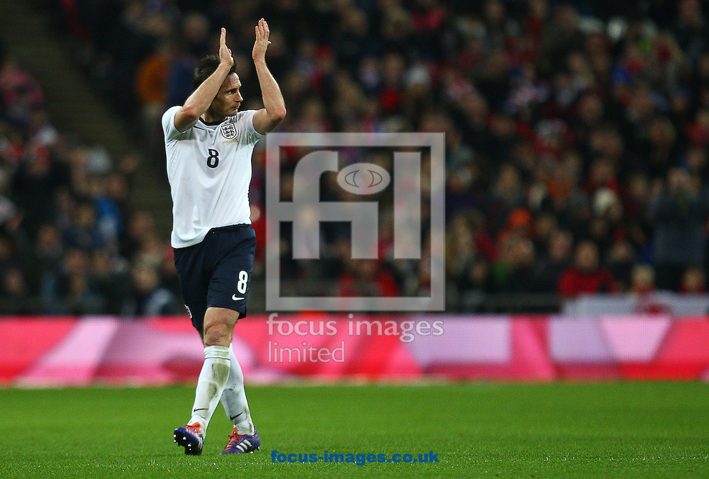 Picture by Rob Fisher/Focus Images Ltd +44 7450 945824<br /> 15/11/2013<br /> Frank Lampard of England is substituted during the Friendly match at Wembley Stadium, London.