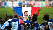 France's Christophe Lemaitre poses after winning the men's 200m final at the 2010 European Athletics Championships at the Olympic Stadium in Barcelona on July 30, 2010