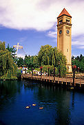 Image of Spokane's Riverfront Park and Clock Tower on the Spokane River, Washington, Pacific Northwest