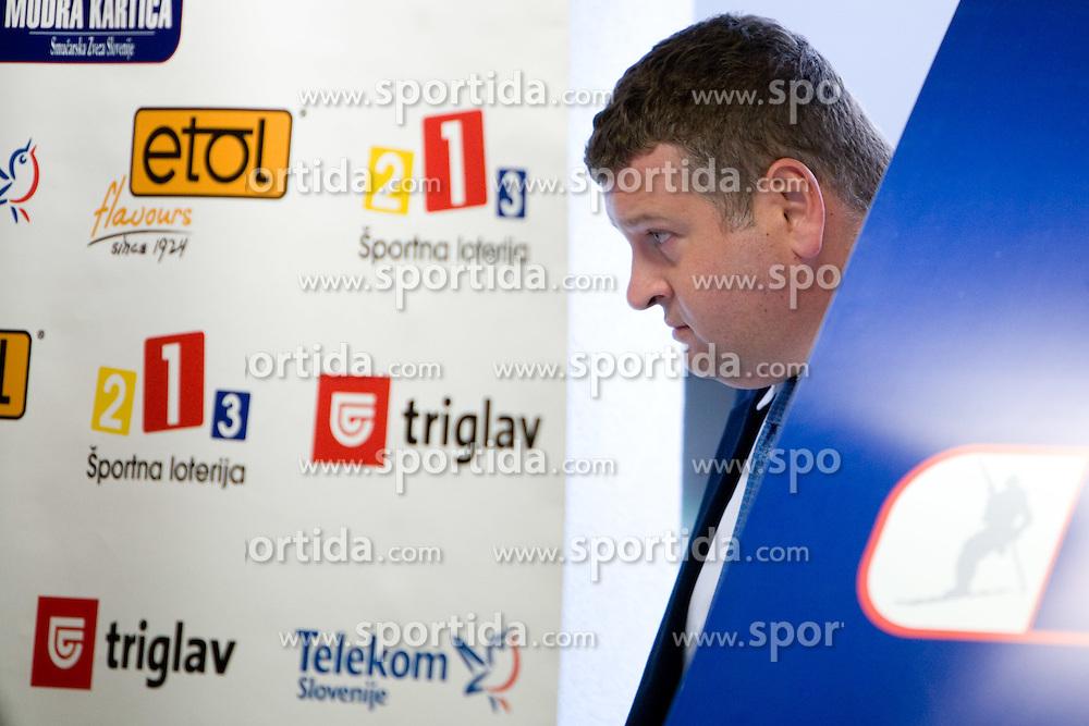 Tomaz Lovse (L), president of Ski Association of Slovenia at press conference, on May 3, 2010, in SZS, Ljubljana, Slovenia.  (Photo by Vid Ponikvar / Sportida)