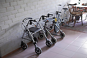 walkers lined up in senior care home