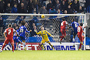 Romain Vincelot scores during the Sky Bet League 1 match between Gillingham and Leyton Orient at the MEMS Priestfield Stadium, Gillingham, England on 15 November 2014.