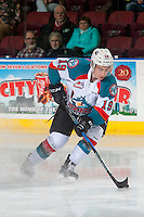 KELOWNA, CANADA - FEBRUARY 22: Dillon Dube #19 of the Kelowna Rockets stops on the ice with the puck against the Edmonton Oil Kings on February 22, 2017 at Prospera Place in Kelowna, British Columbia, Canada.  (Photo by Marissa Baecker/Shoot the Breeze)  *** Local Caption ***