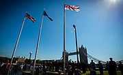Armed Forces Day - City Hall ceremony pays tribute to British Armed Forces, London, Great Britain 25th June 2018 <br />  <br /> The Mayor of London and the London Assembly joined members of the British Armed Forces at City Hall today for a flag-raising ceremony to honour the courage and commitment of the Armed Forces community.<br /> The annual ceremony took place ahead of National Armed Forces Day, next Saturday, and was attended by members of the Forces as well as veterans, reserves, cadets and representatives from military charities. It is the 10th Armed Forces Day ceremony organised by the Mayor and London Assembly.<br /> <br /> The Mayor, Sadiq Khan and Chair of the London Assembly, Tony Arbour AM, joined senior military figures for the ceremony, which featured musical contributions from the Band of the Royal Yeomanry.<br />  <br /> Naval Commodore David Elford OBE, Army Colonel Victor Matthews OBE and Air Commodore David Prowse OBE from the Royal Air Force offered a joint military response.<br /> The Armed Forces flag was raised by Cadet Cpl Aaron Harmsworth and Cadet Charlotte McCarthy.<br /> <br /> Photograph by Elliott Franks