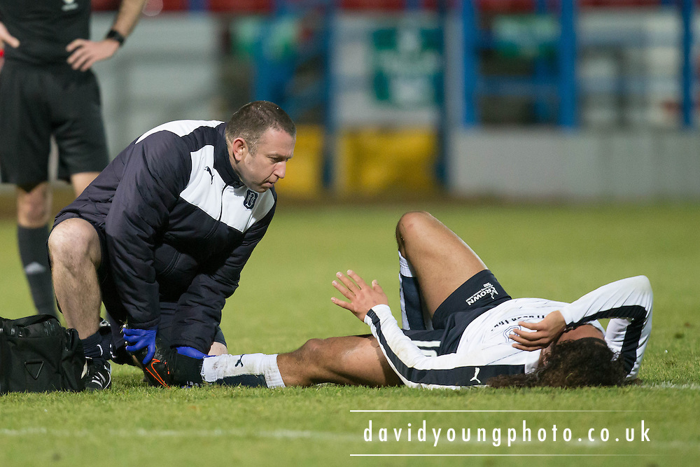 Dundee's Yordi Teijsse gets treatment after a heavy tackle - Rangers v Dundee in the SPFL Development League at Forthbank, Stirling. Photo: David Young<br /> <br />  - © David Young - www.davidyoungphoto.co.uk - email: davidyoungphoto@gmail.com