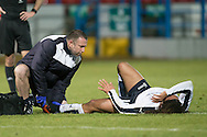 Dundee&rsquo;s Yordi Teijsse gets treatment after a heavy tackle - Rangers v Dundee in the SPFL Development League at Forthbank, Stirling. Photo: David Young<br /> <br />  - &copy; David Young - www.davidyoungphoto.co.uk - email: davidyoungphoto@gmail.com