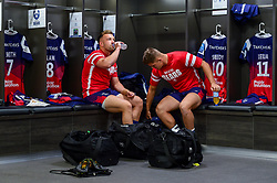 Andy Uren of Bristol Bears and Callum Sheedy of Bristol Bears  in the changing room prior to kick off - Mandatory by-line: Ryan Hiscott/JMP - 29/09/2018 - RUGBY - Ashton Gate Stadium - Bristol, England - Bristol Bears v Northampton Saints - Gallagher Premiership Rugby
