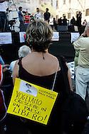 """Roma  1 Luglio 2010.Manifestazione a Piazza Navona per protestare  contro il ddl Alfano sulle intercettazioni e contro il «bavaglio all'informazione»,organizzata dalla stampa e dagli editori.Rome  July, 1  2010.Demonstration outside to protest against the Alfano bill on wiretapping and against the """"gag information""""."""