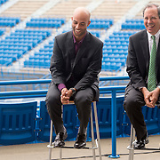 June 9, 2015, New Haven, CT:<br /> Former ATP World Tour star and Connecticut Open Legends Event Participant James Blake and Vice President of State Government Relations for United Technologies Peter Holland laugh during a press conference at the Connecticut Tennis Center to announce the new Connecticut Open 50/50 Project and the renewal of United Technologies sponsorship of the tournament through the 2017 in New Haven, Connecticut Tuesday, June 9, 2015.<br /> (Photos by Billie Weiss/Connecticut Open)