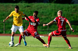 Andraž Kirm of Bravo vs Nemanja Jakšić of Aluminij and Luka Štor of Aluminij during football match between NK Bravo and NK Aluminij in 5th Round of Prva liga Telekom Slovenije 2019/20, on August 9, 2019 in Sports park ZAK, Ljubljana, Slovenia. Photo by Vid Ponikvar / Sportida