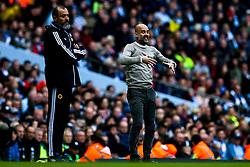Manchester City manager Pep Guardiola and Wolverhampton Wanderers manager Nuno - Mandatory by-line: Robbie Stephenson/JMP - 06/10/2019 - FOOTBALL - Etihad Stadium - Manchester, England - Manchester City v Wolverhampton Wanderers - Premier League