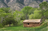 Log cabin at the historic Ewing-Snell Ranch, Bighorn Canyon National Monument Montana