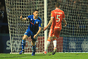 GOAL Ian Henderson celebrates scoring 2-1 during the EFL Sky Bet League 1 match between Rochdale and Blackpool at Spotland, Rochdale, England on 26 December 2018.