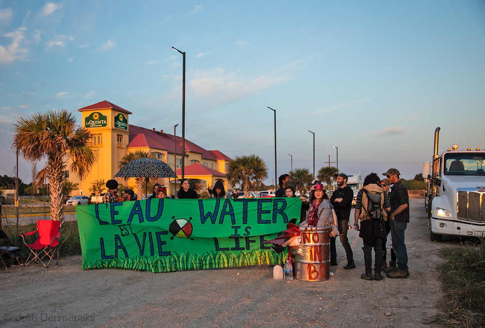 April 5, 2018 Iowa,Louisiana, Protest against the Bayou Bridge pipeline. <br /> Opponents of the Bayou Bridge pipeline attempted to shut down the pipeline's construction by blocking Yak Mat's entrance, an industrial yard that supplies access mats used to create temporary roadways at pipeline construction sites and enable trucks to pass through muddy areas. The protest broke up at noon.