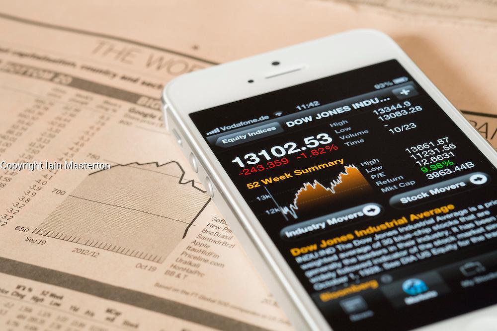 Detail of iPhone 5 smart phone screen showing financial app with Dow Jones Industrial stock market data
