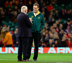 Head Coach Rassie Erasmus of South Africa with Head Coach Warren Gatland of Wales during the pre match warm up<br /> <br /> Photographer Simon King/Replay Images<br /> <br /> Under Armour Series - Wales v South Africa - Saturday 24th November 2018 - Principality Stadium - Cardiff<br /> <br /> World Copyright © Replay Images . All rights reserved. info@replayimages.co.uk - http://replayimages.co.uk