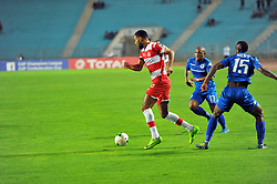 October 22, 2017 - Rades, Tunisia - Saber khalifa of CA and Siyabonga Nhlapho(15)during the Semi-final return of the CAF Cup between Club Africain (CA) and Supersport United FC of South Africa at the stadium of Rades  in Tunis..Club Africain lost (1-3) against the South African Super Sport Utd who will face TP Mazembe in the final. (Credit Image: © Chokri Mahjoub via ZUMA Wire)