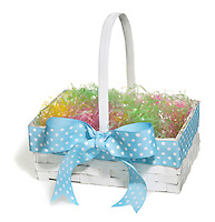 Empty Easter basket photographed on a white background.