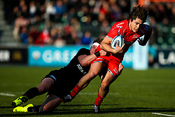 Caption Correction: James O'Connor of Sale Sharks is tackled  - Mandatory by-line: Robbie Stephenson/JMP - 17/11/2018 - RUGBY - Allianz Park - London, England - Saracens v Sale Sharks - Gallagher Premiership Rugby