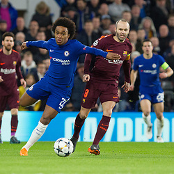 Willian of Chelsea and Andres Iniesta of Barcelona during the Champions League match between Chelsea and Brcelona at Stamford Bridge, London on Tuesday 20th February 2018.  (C) Steven Morris | SportPix.org.uk