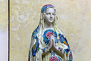 BOOL, Vierge tatouee (Tattooed Virgin), sculpture of Virgin Mary, 21st century,  from exhibition Les Vierges de Noel (Christmas Virgins), January 2012, Eglise Saint-Sulpice (St Sulpitius' Church), c.1646-1745, late Baroque church on the Left Bank, Paris, France. L'autorisation de reproduire cette oeuvre doit etre demandÈe auprËs de l'ADAGP/Permission to reproduce this work of art must be obtained from DACS. Picture by Manuel Cohen