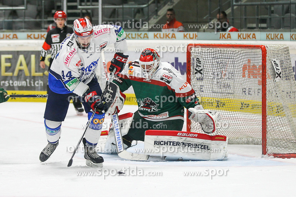02.11.2014, Curt-Frenzel-Stadion, Augsburg, GER, DEL, Augsburger Panther vs Schwenninger Wild Wings, 16. Runde, im Bild l-r: im Zweikampf, Aktion, mit Ashton Rome #44 (Schwenninger Wild Wings) und Markus Keller #35 (Augsburger Panther) // during Germans DEL Icehockey League 16th round match between Augsburger Panther and Schwenninger Wild Wings at the Curt-Frenzel-Stadion in Augsburg, Germany on 2014/11/02. EXPA Pictures © 2014, PhotoCredit: EXPA/ Eibner-Pressefoto/ Kolbert<br /> <br /> *****ATTENTION - OUT of GER*****