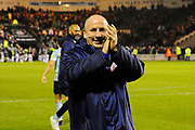 Accrington Stanley manager John Coleman applauds the travelling fans at full time after a 3-0 win over Plymouth Argyle during the EFL Sky Bet League 1 match between Plymouth Argyle and Accrington Stanley at Home Park, Plymouth, England on 22 December 2018.