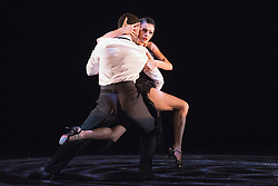"© Licensed to London News Pictures. 09/06/2015. London, UK. Pictured: German 'Nikito' Cornejo and Gisela Galeassi performing. Sidi Larbi Cherkaoui's contemporary tango production ""Milonga"" returns to Sadler's Wells from 9 to 13 June 2015. Photo credit : Bettina Strenske/LNP"