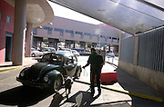 A vehicle entering the United States from Nogales, Sonora, Mexico, undergoes customs inspection at the Dennis DeConcini Port of Entry in Nogales, Arizona.