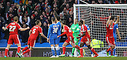 Nottingham Forest's Henri Lansbury scores during the Sky Bet Championship match between Brighton and Hove Albion and Nottingham Forest at the American Express Community Stadium, Brighton and Hove, England on 7 February 2015. Photo by Phil Duncan.
