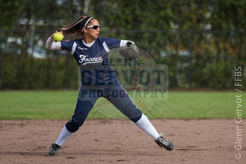 Shots taken during the 1st round pool game of the 2015 European Softball Woman Championship, between France and Russia National Teams, in Rosmalen, Netherlands.<br /> Russia Won 13 to 1. July 20th 2015.<br />  Credit : Glenn Gervot