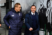 AFC Wimbledon manager Neal Ardley and Plymouth Argyle manager Derek Adams walk out on to the pitch together before the EFL Sky Bet League 1 match between Plymouth Argyle and AFC Wimbledon at Home Park, Plymouth, England on 6 October 2018.