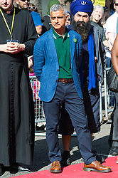© Licensed to London News Pictures. 27/08/2017. London, UK. Mayor of London SSADIQ KHAN make a speech at a multi-faith prayer service taking place before the start of the first day of the Notting Hill Carnival. The service is to remember the victims of the Grenfell Fire. It is second largest street festival in the world after the Rio Carnival in Brazil, attracting over 1 million people. Photo credit: Ray Tang/LNP